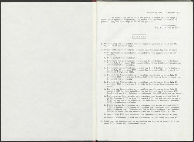 Bergen op Zoom: Notulen gemeenteraad, 1926-1996 1974-01-01