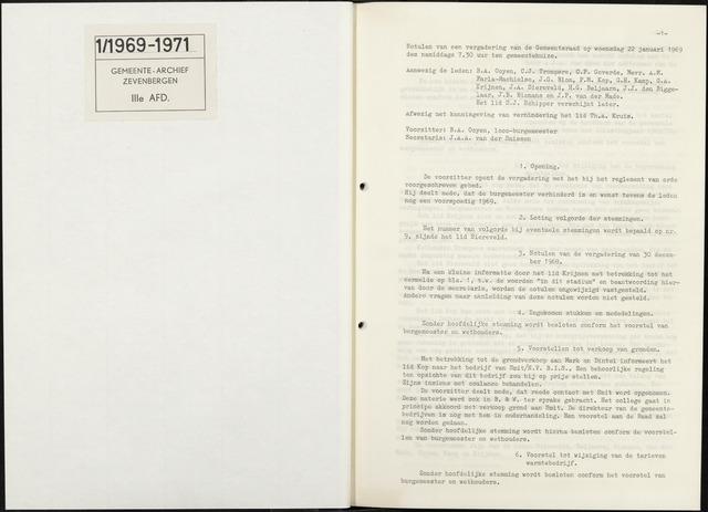 Zevenbergen: Notulen gemeenteraad, 1930-1996 1969-01-01