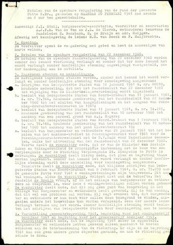 Putte: Notulen gemeenteraad, 1928-1996 1961-01-01