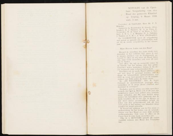 Klundert: Notulen gemeenteraad, mei 1933-1996 1936