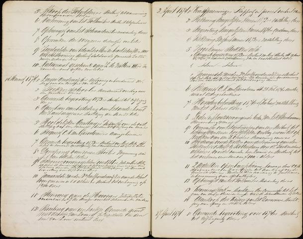 Roosendaal: Inhoudsopgaven notulen, 1849-1903 1874