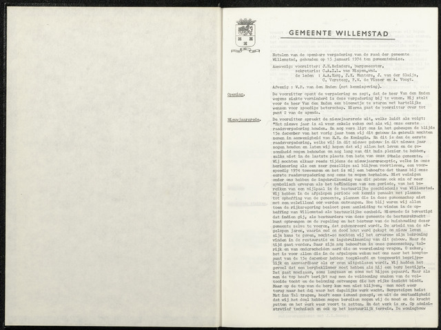 Willemstad: Notulen gemeenteraad, 1927-1995 1974-01-01