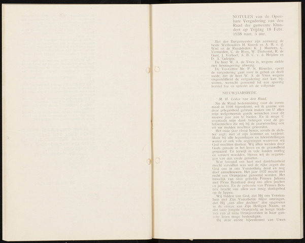 Klundert: Notulen gemeenteraad, mei 1933-1996 1938