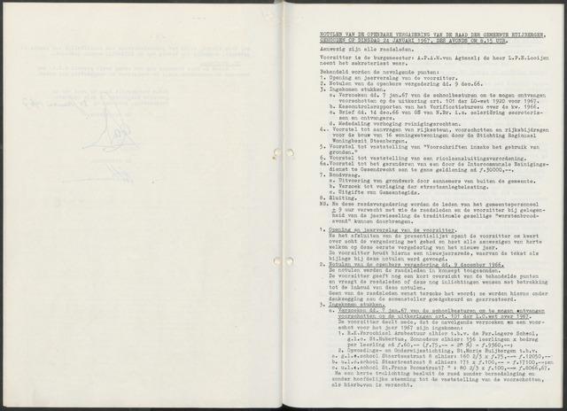 Huijbergen: Notulen gemeenteraad 1935-1996 1967-01-01