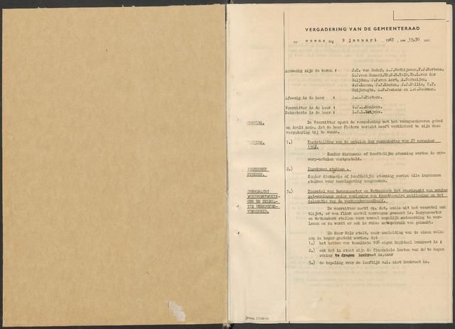 Zundert: Notulen gemeenteraad, 1934-1988 1963-01-01