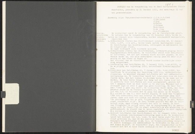 Standdaarbuiten: Notulen gemeenteraad, 1937-1996 1951-01-01