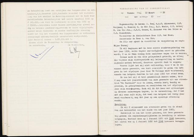 Fijnaart en Heijningen: notulen gemeenteraad, 1934-1995 1952
