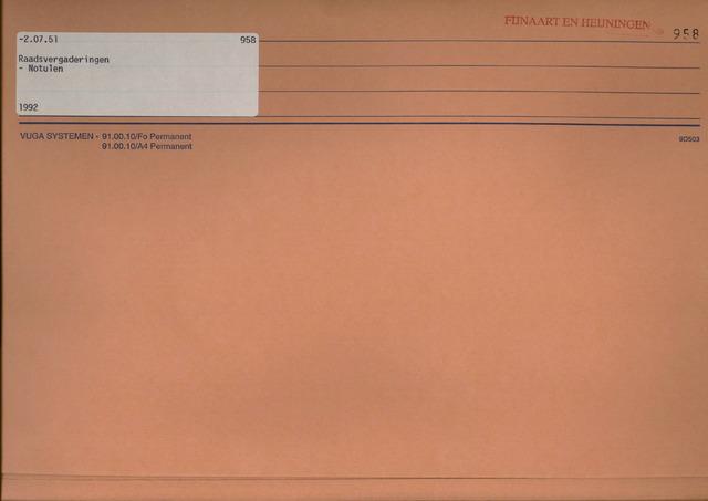 Fijnaart en Heijningen: notulen gemeenteraad, 1934-1995 1992