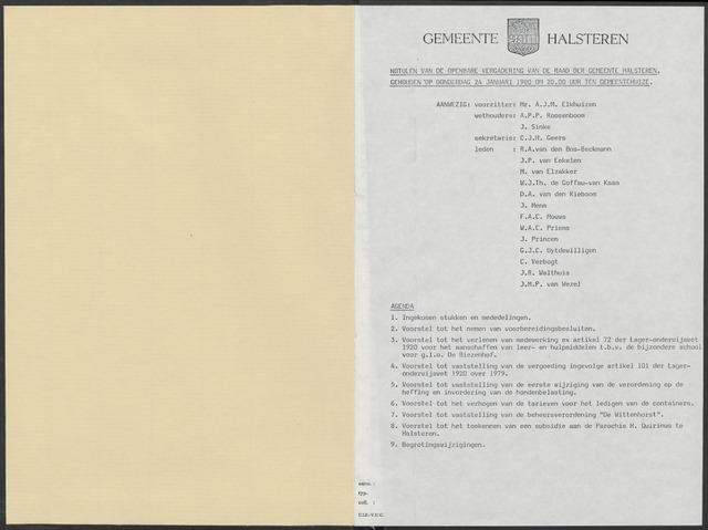Halsteren: Notulen gemeenteraad, 1960-1996 1980