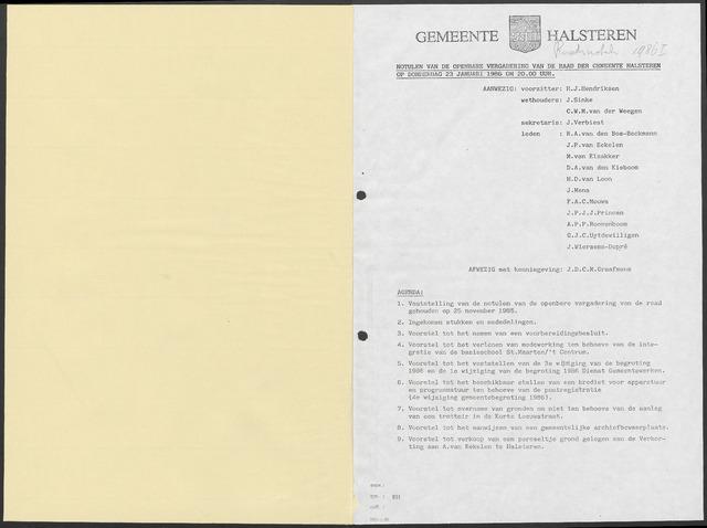 Halsteren: Notulen gemeenteraad, 1960-1996 1986