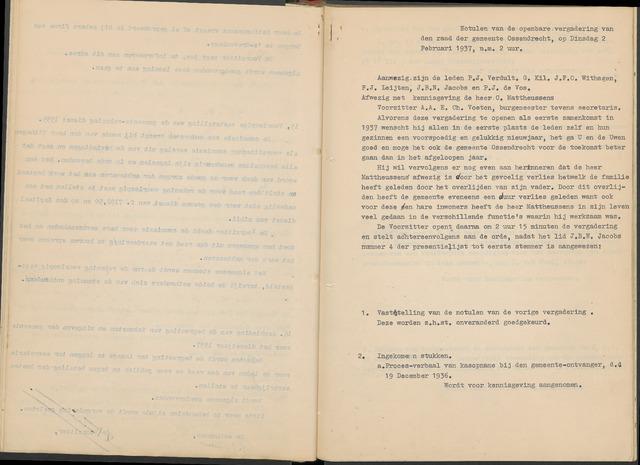 Ossendrecht: Notulen gemeenteraad, 1920-1996 1937