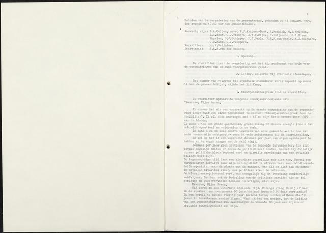 Zevenbergen: Notulen gemeenteraad, 1930-1996 1975-01-01