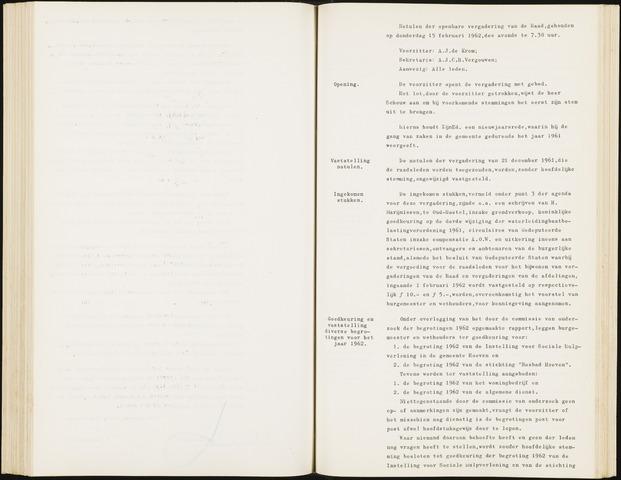 Hoeven: Notulen gemeenteraad, 1928-1996 1962-01-01