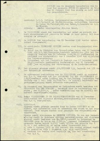 Putte: Notulen gemeenteraad, 1928-1996 1949-01-01