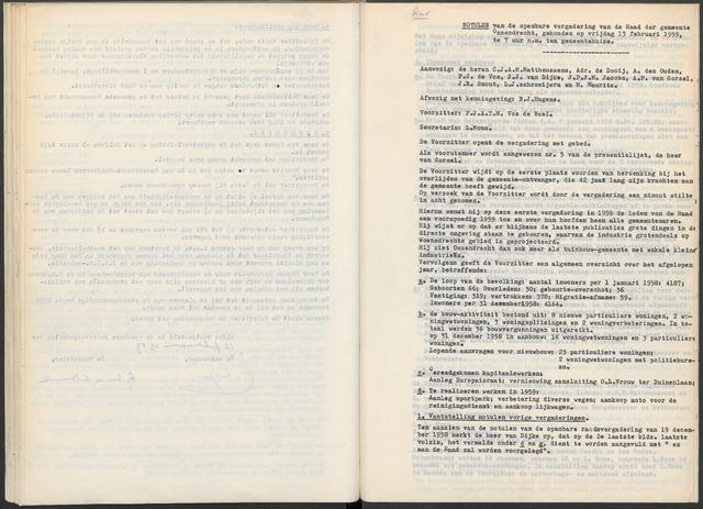 Ossendrecht: Notulen gemeenteraad, 1920-1996 1959