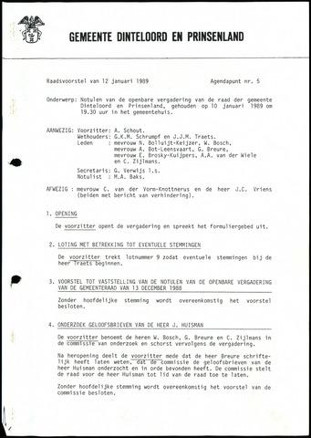 Dinteloord: Notulen gemeenteraad, 1946-1996 1989
