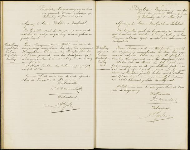 Wouw: Notulen gemeenteraad (besloten), 1902-1919 1908