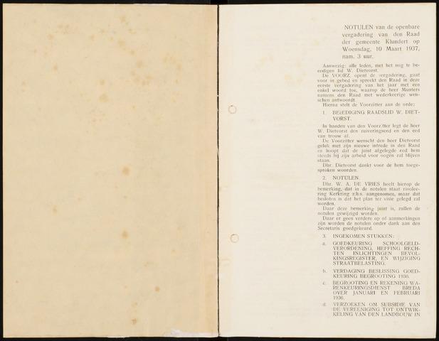 Klundert: Notulen gemeenteraad, mei 1933-1996 1937