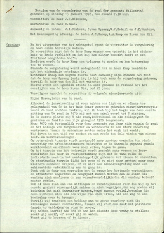Willemstad: Notulen gemeenteraad, 1927-1995 1970-01-01