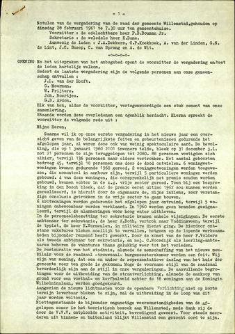 Willemstad: Notulen gemeenteraad, 1927-1995 1961-01-01