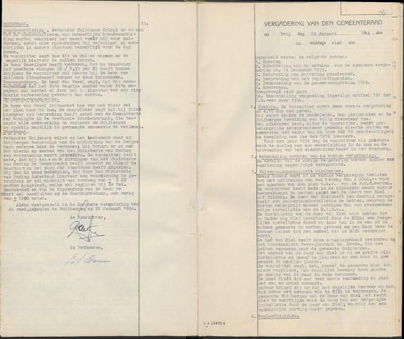 Huijbergen: Notulen gemeenteraad 1935-1996 1954-01-01
