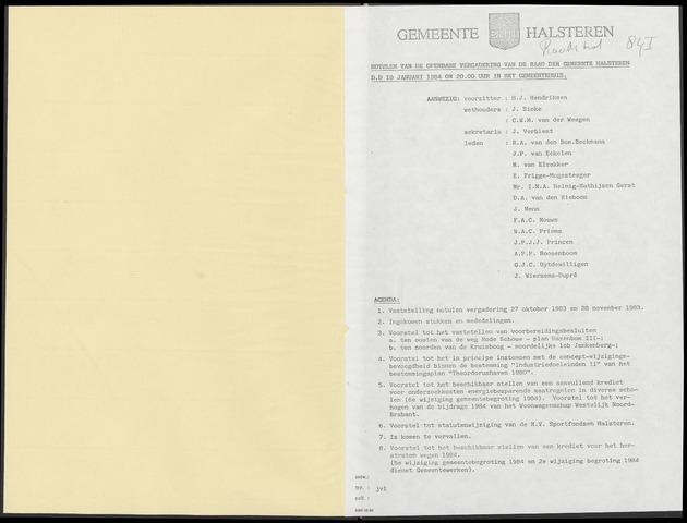 Halsteren: Notulen gemeenteraad, 1960-1996 1984