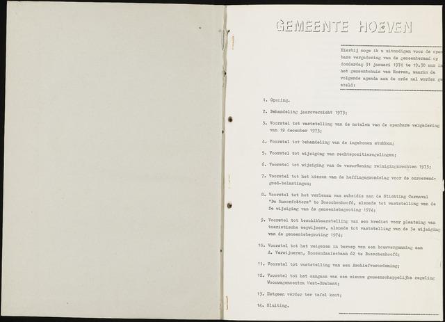 Hoeven: Notulen gemeenteraad, 1928-1996 1974-01-01
