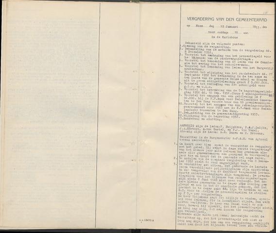 Huijbergen: Notulen gemeenteraad 1935-1996 1953-01-01