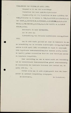 Roosendaal: Notulen gemeenteraad (besloten), 1919-1935 1920