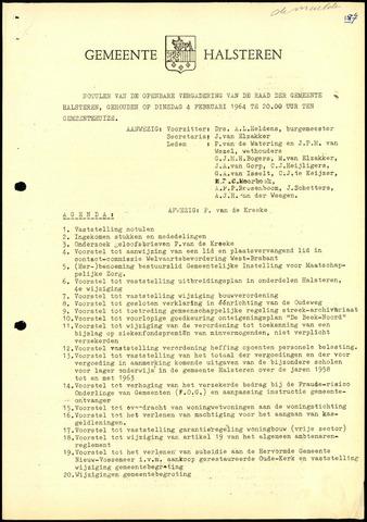 Halsteren: Notulen gemeenteraad, 1960-1996 1964
