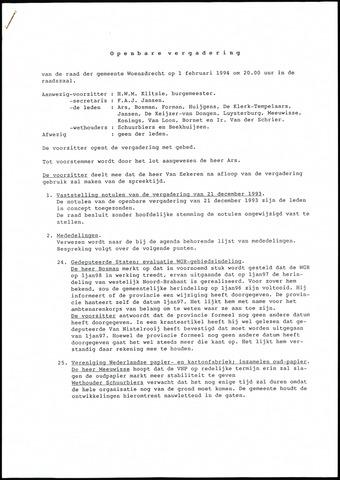 Woensdrecht: Notulen gemeenteraad, 1922-1996 1994-01-01