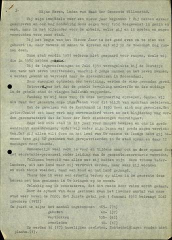 Willemstad: Notulen gemeenteraad, 1927-1995 1952-01-01