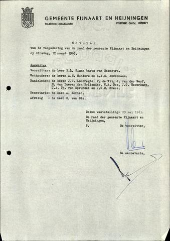 Fijnaart en Heijningen: notulen gemeenteraad, 1934-1995 1963