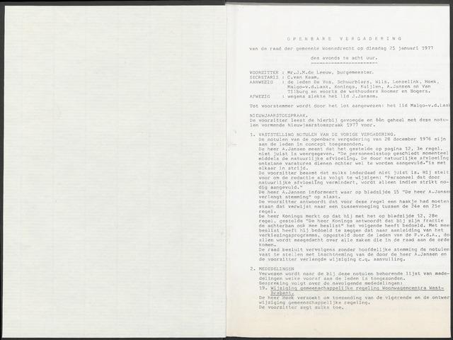 Woensdrecht: Notulen gemeenteraad, 1922-1996 1977-01-01