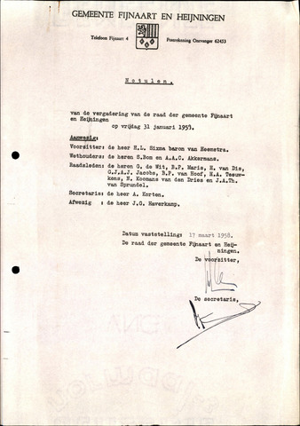 Fijnaart en Heijningen: notulen gemeenteraad, 1934-1995 1958