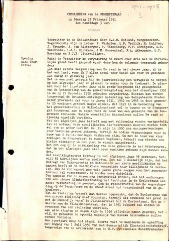 Oud en Nieuw Gastel: Notulen gemeenteraad, 1938-1980 1951-01-01