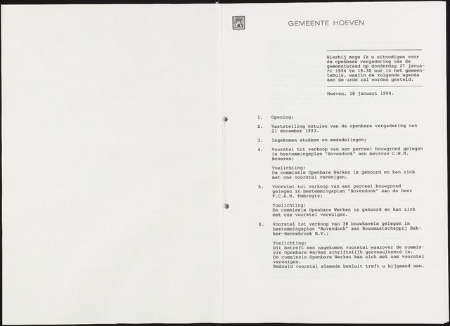 Hoeven: Notulen gemeenteraad, 1928-1996 1994-01-01