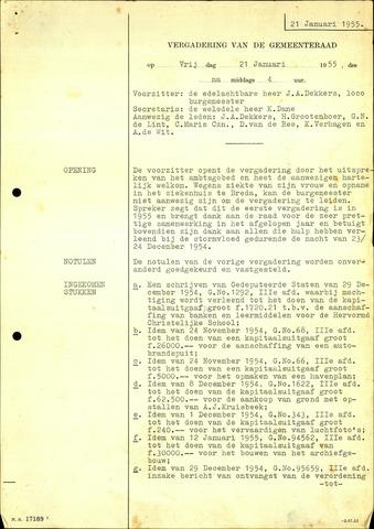 Willemstad: Notulen gemeenteraad, 1927-1995 1955-01-01