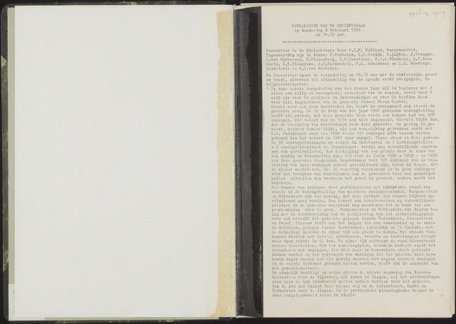 Oud en Nieuw Gastel: Notulen gemeenteraad, 1938-1980 1956-01-01