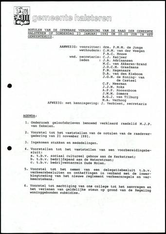 Halsteren: Notulen gemeenteraad, 1960-1996 1992