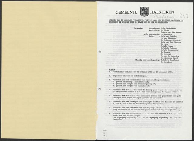 Halsteren: Notulen gemeenteraad, 1960-1996 1987