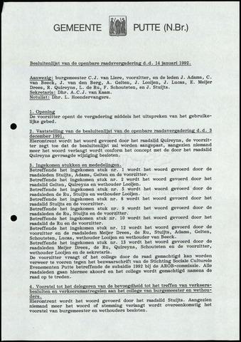 Putte: Notulen gemeenteraad, 1928-1996 1992-01-01