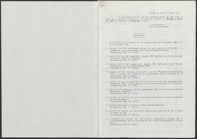 Bergen op Zoom: Notulen gemeenteraad, 1926-1996 1985-01-01