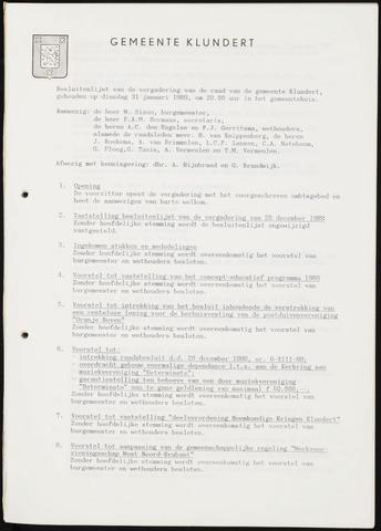 Klundert: Notulen gemeenteraad, mei 1933-1996 1989