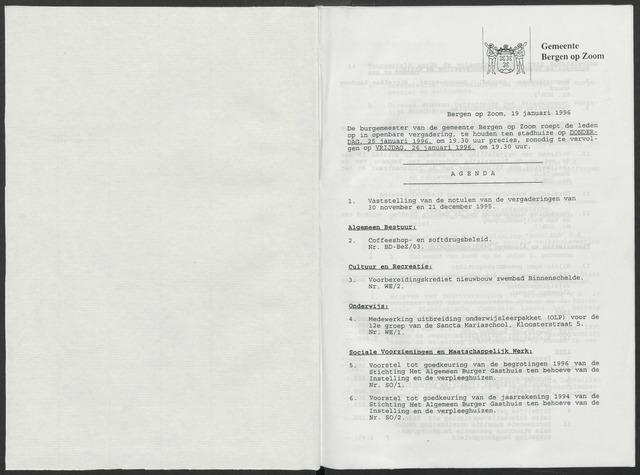 Bergen op Zoom: Notulen gemeenteraad, 1926-1996 1996-01-01