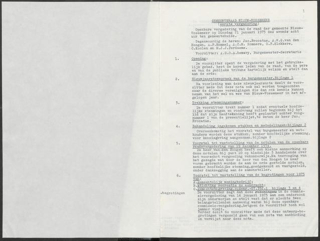 Nieuw-Vossemeer: Notulen gemeenteraad, 1957-1996 1975-01-01
