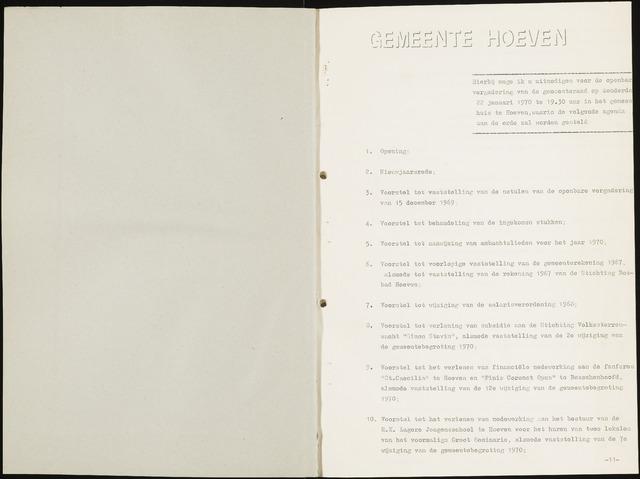 Hoeven: Notulen gemeenteraad, 1928-1996 1970-01-01