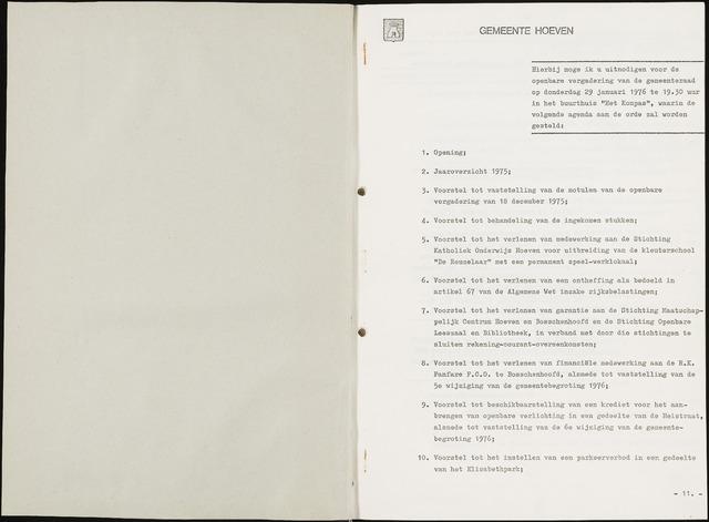 Hoeven: Notulen gemeenteraad, 1928-1996 1976-01-01