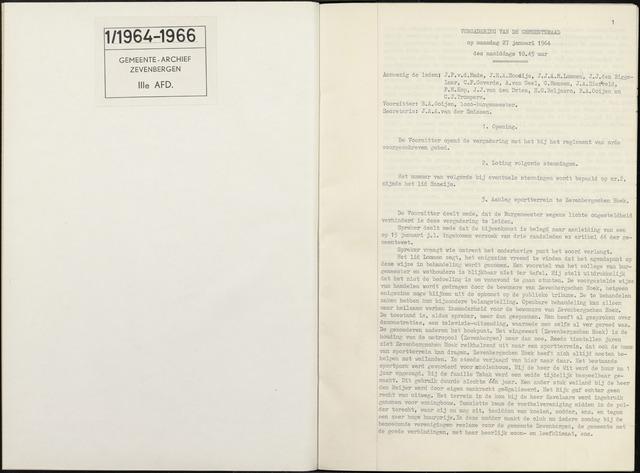 Zevenbergen: Notulen gemeenteraad, 1930-1996 1964-01-01