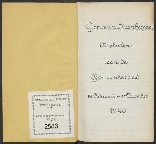 Steenbergen: Notulen gemeenteraad, 1920-1996 1940-01-01